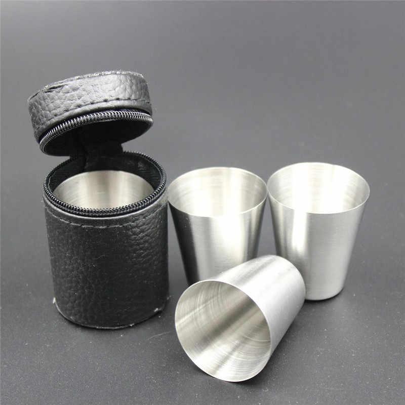 30 مللي حجم صغير 1 قطعة غطاء الفولاذ المقاوم للصدأ القدح التخييم أكواب القدح شرب القهوة الشاي البيرة للسفر في الهواء الطلق
