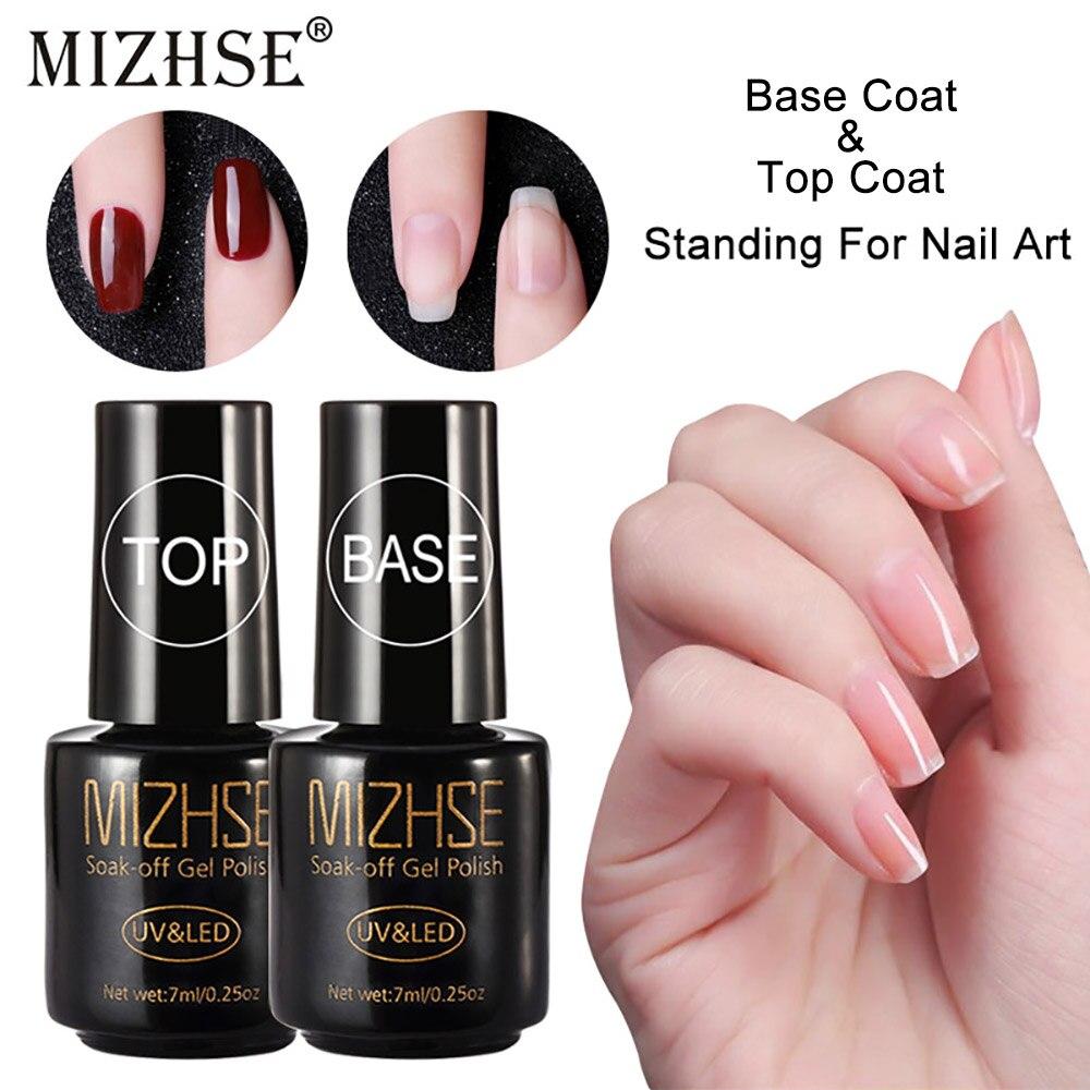 MIZHSE 7ml 2pcs/set Multi-Use Top Coat And Base Coat Nail Polish Gel Vernis Semi  For Nail Art Design Nail UV LED Lamp Primer