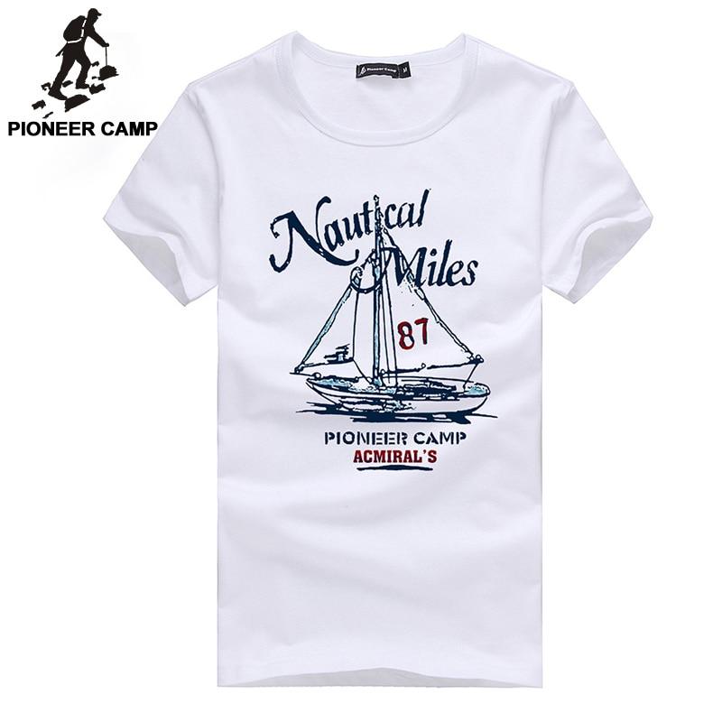 Pioneer camp 2017 fashion print t shirt sailboat men t for Mens short sleeve camp shirts