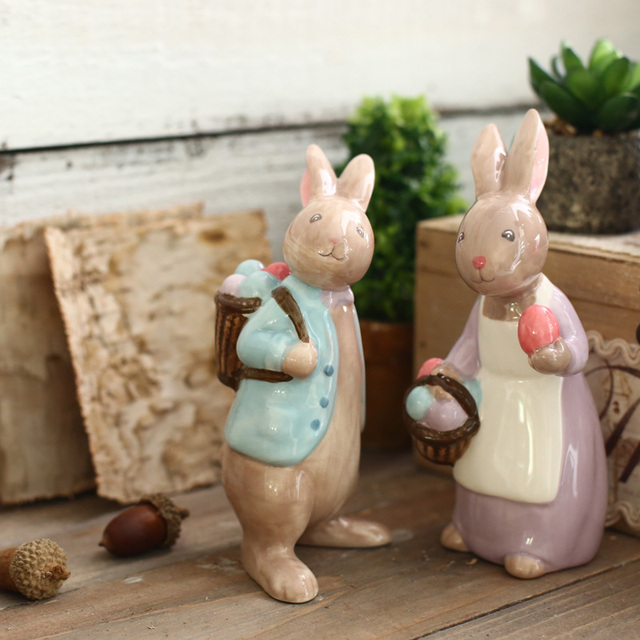 Fairy Garden Miniature Cerabbit Rabbit Figurines Creative Mini Crafts Gift Office Home Decoration Figurines Wedding Decoration