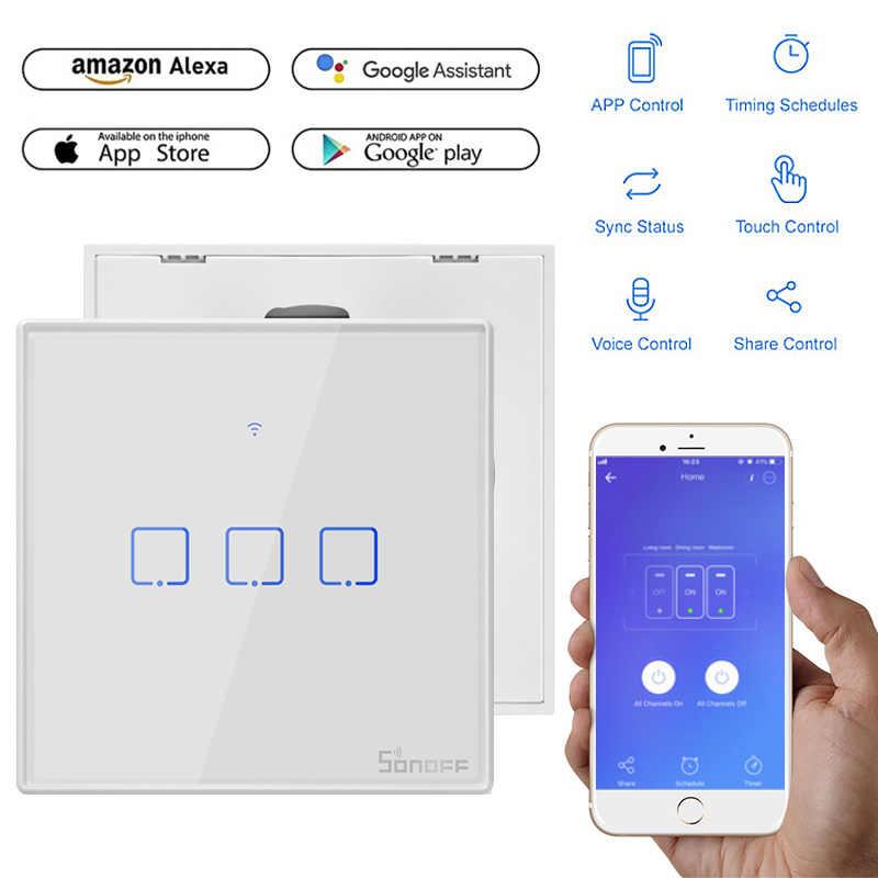 SONOFF T2 inteligentny Panel WiFi inteligentne przełączniki z ponad 2/1 gangi ue i wielkiej brytanii i usa dla Alexa uchwyt/Google strona główna Mini Sonoff inteligentnego domu