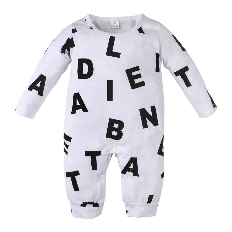 Baby Clothing Toddler Baby Boy Girls Romper Outfit Cotton Letter Print Long Sleeve Romper Jumpsuit Suit