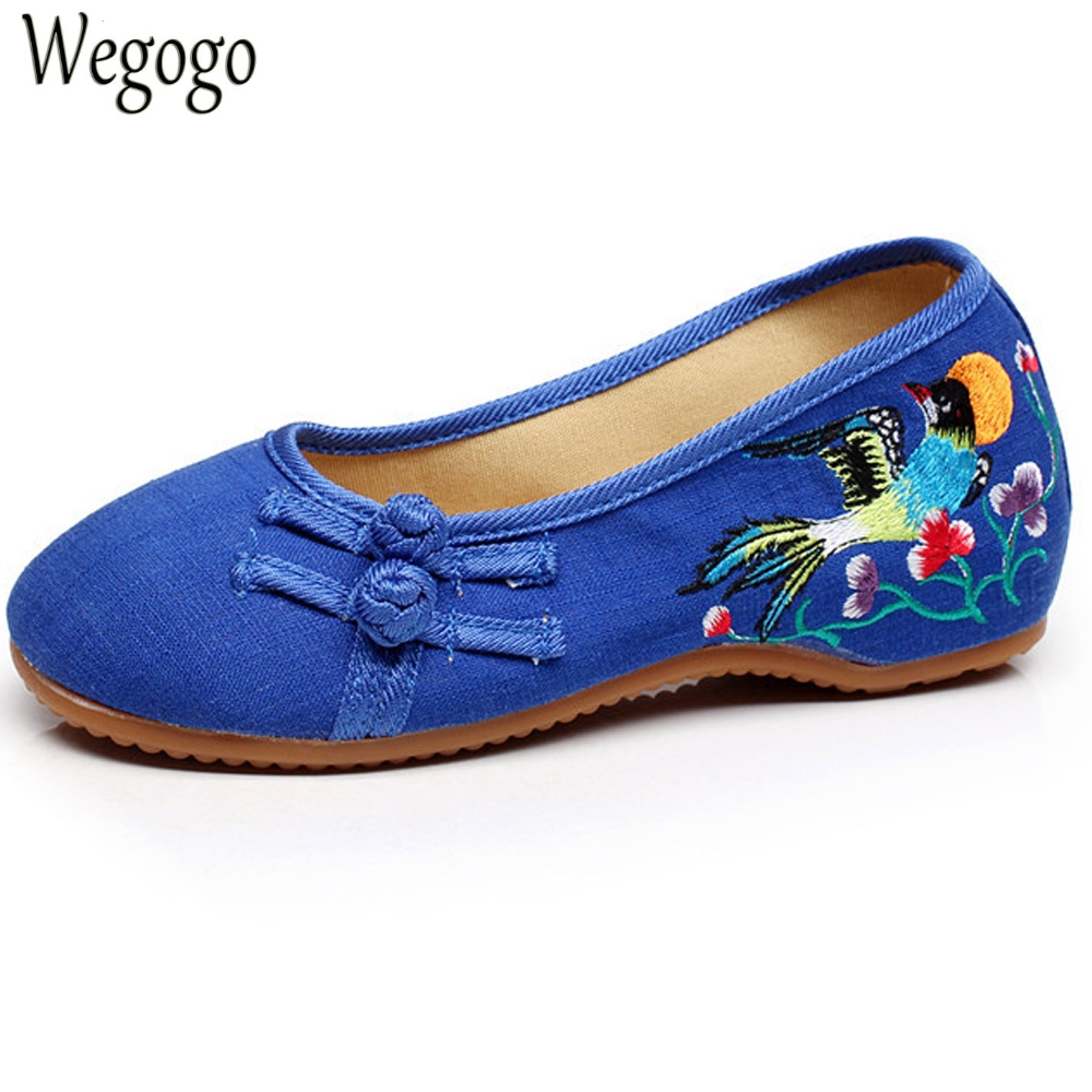 Chinese Women Shoes Flats Slip On Cotton Birds Embroidery Comfortable Old Peking Ballerina Ballet Shoes Woman Sapato Feminino vintage embroidery women flats chinese floral canvas embroidered shoes national old beijing cloth single dance soft flats