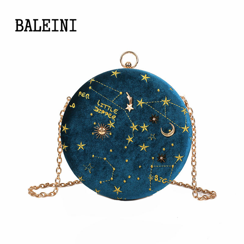 Starry sky Circular Fashion Wool Women Shoulder Bag Leather Women's Crossbody Me