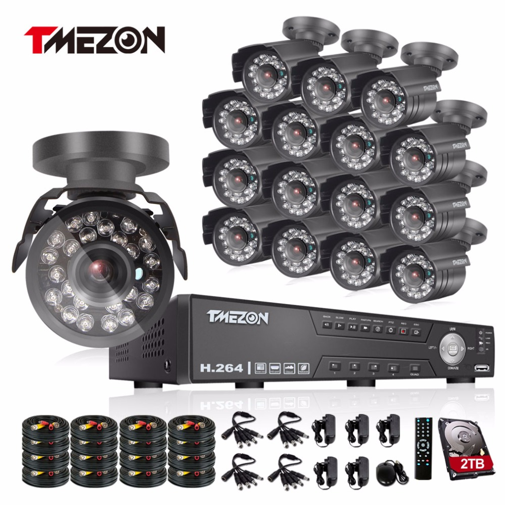 Tmezon 16CH AHD DVR 16Pcs 2.0MP 1080P Camera Security Surveillance CCTV System Outdoor Waterproof IR Night Vision 1TB 2TB HD Kit tmezon 16ch ahd dvr 16pcs 2 0mp 1080p camera security surveillance cctv system outdoor waterproof ir night vision 1tb 2tb hd kit