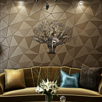 PVC Wallpaper Modern Fashion Personality 3D Geometry Imitation Leather European Style Wallpaper Living Room Luxury 3D