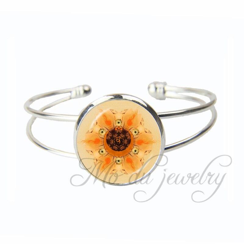 Yoga Glass Open Cuff Bangles Solar Plexus Chakra Bracelets Silver Plated Jewelry OM Zen Bangles Jewelry Accessories