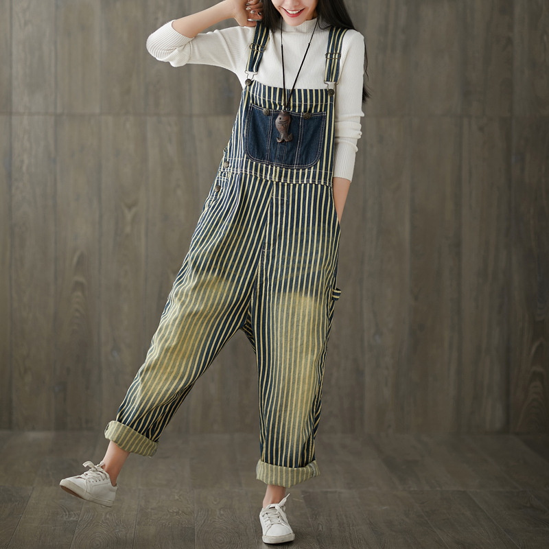 Women Striped Patchwork Jumpsuits Ladies Loose Stripes Big Pockets Overalls Rompers Female Loose Stripe Pants Trousers