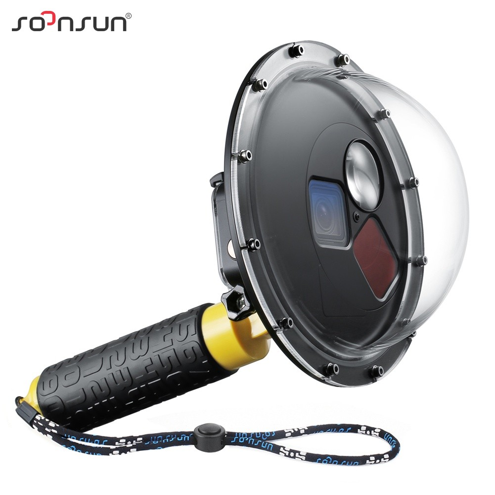 SOONSUN Filter Switchable Dome Port Waterproof Case Diving Lens Cover w Float Grip for GoPro Hero