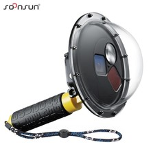 SOONSUN Filter Switchable Dome Port Waterproof Case Dive Lens Cover w/ Float Grip for GoPro Hero 5 6 7 Black Go Pro 7 Accessory