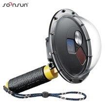 SOONSUN Filtro Commutabile Cupola Porta Custodia Impermeabile Dive Lens Della Copertura w/Float Grip per GoPro hero 5 6 7 nero Go Pro 7 Accessorio
