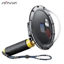 SOONSUN filtre değiştirilebilir Dome Port su geçirmez kılıf dalış lens kapağı w/Float kavrama GoPro Hero 5 için 6 7 siyah git Pro 7 aksesuar