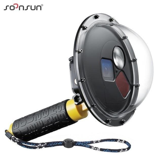SOONSUN تصفية للتحويل قبة ميناء مقاوم للماء حافظة الغوص غطاء للعدسات ث/تعويم قبضة ل GoPro بطل 5 6 7 الأسود الذهاب برو 7 ملحق