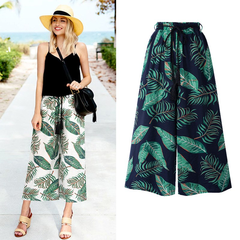 Plus Size Women Floral Print Wide Leg Pants Casual Elastic High Waist Chiffon Pant Chic  Boho Holiday Beach Loose Trousers