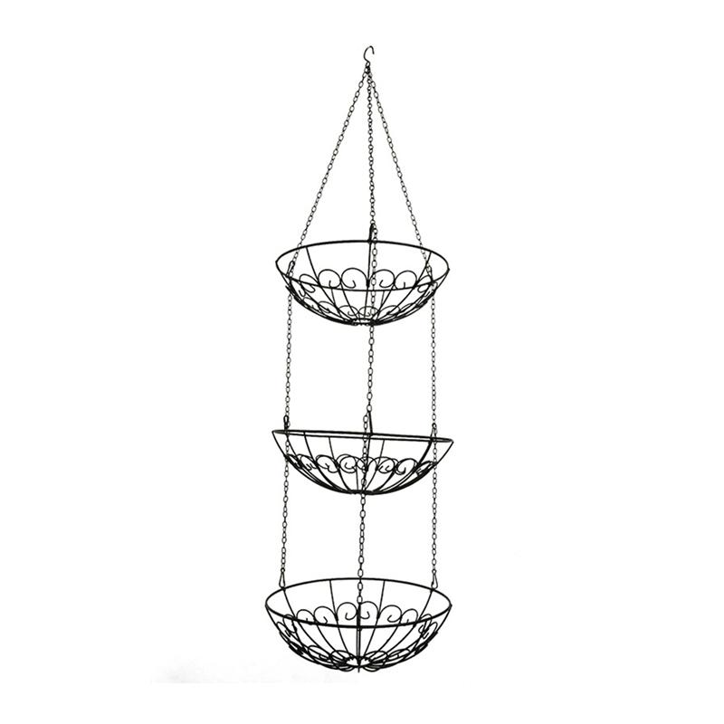 OUNONA 3 Tier Metal Hollowed out Fruit Basket Hanging Iron Vegetable Storage Basket Home Storage Organization