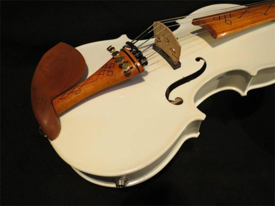 Handmade BEST Model Acoustic Violin Violino White Color 5 Strings 4/4 Electric Violin Case Bow Rosin