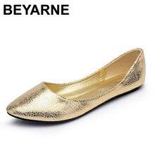 BEYARNEจัดส่งฟรี 2017 ใหม่ยุโรปและอเมริกาพัดลมแบนแฟชั่นPointy Toeรองเท้าผู้หญิงขนาดใหญ่ 4 สี