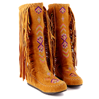 Womens Thign High Round Toe Slip on Fringing Ethnic Street Style Flat Gold Boots Shoes Snow Boots Winter Shoes Footwear