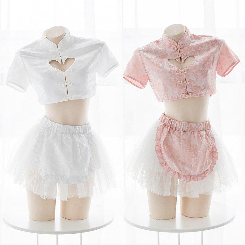 Lolita Cute Cheongsam Lingerie Anime Cosplay Uniform Women Chinese Cheongsam Tops and Skirt Set Sexy Maid
