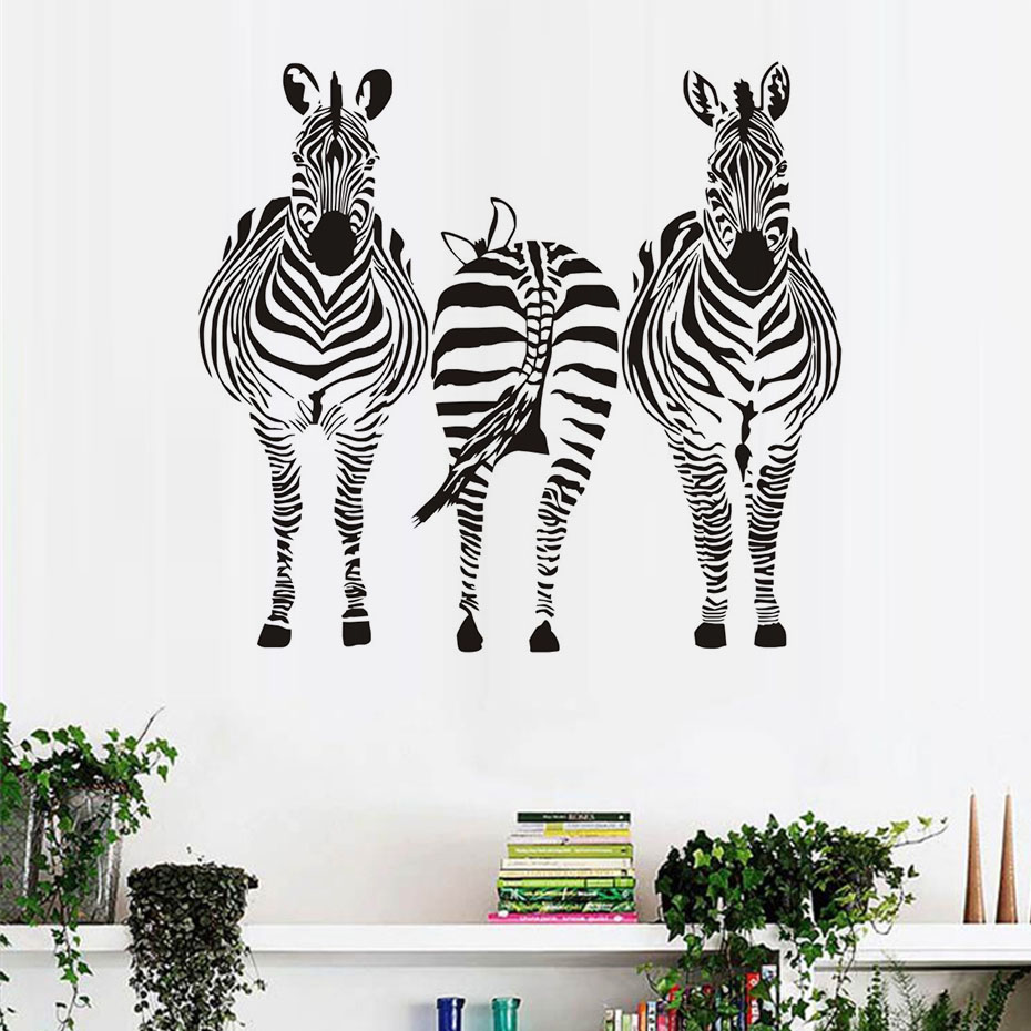 Vinyl fence wholesale promotion shop for promotional vinyl fence cheapest wholesale three zebra wall sticker for kids room removable animal vinyl wall mural decal living room home decoration baanklon Gallery