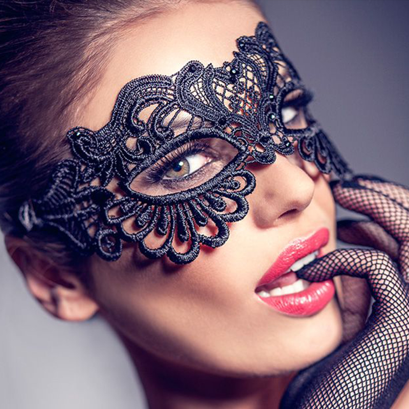 Black Lace Long Nose Venetian Eye Mask Fancy Dress Masked Ball Masquerade