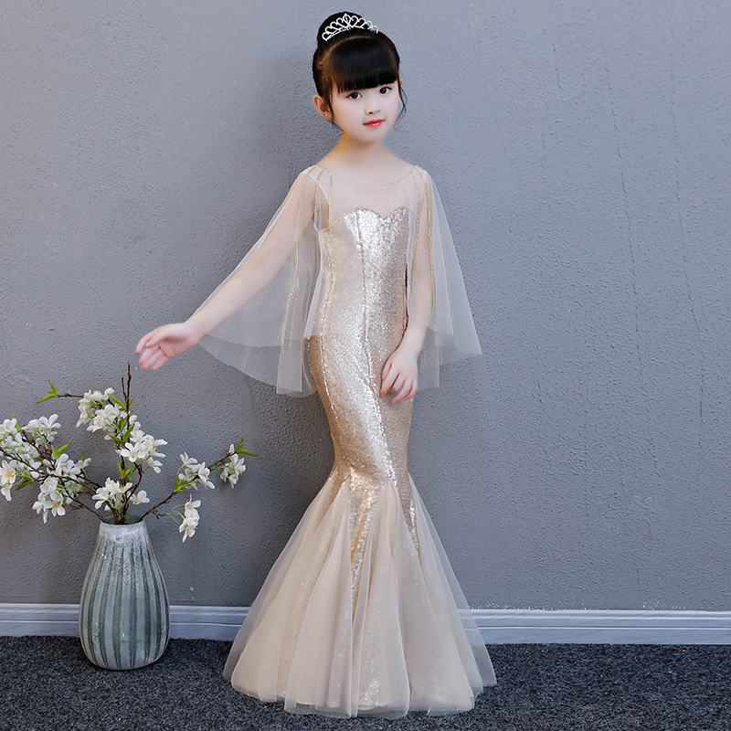 Luxury Gold Flower Girl Dresses Flare Sleeve Mermaid Dresses Kids Girl Pageant Gown For Wedding Birthday Party Dress Aa252