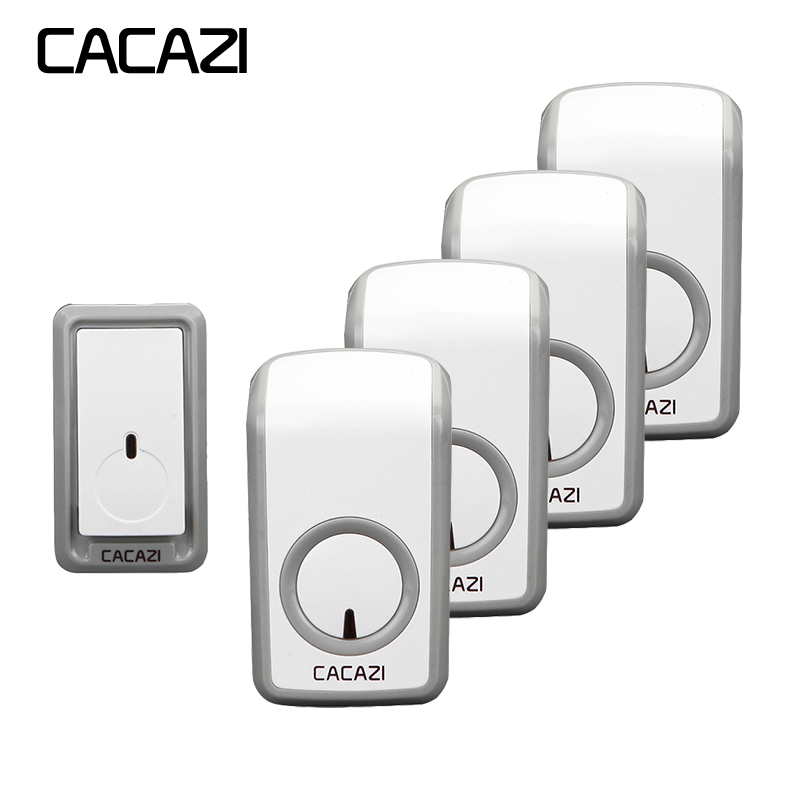 CACAZI Wireless Doorbell Waterproof 350M Remote 1 Battery Button 4 Receivers EU Plug Home Cordless Bell 48 Chime 6 Volume cacazi wireless doorbell waterproof 350m remote 3 battery button 3 receivers 48 chime 6 volume eu plug home cordless bell
