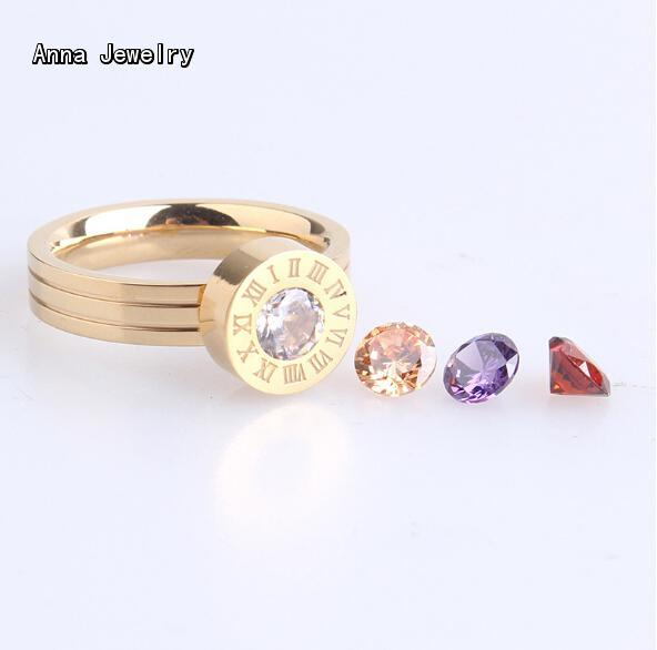 America Destinctive Designer Change Stones Ring,The Centre Stone can be Changed to Different Color.Trendy Stone Ring for Women crystal
