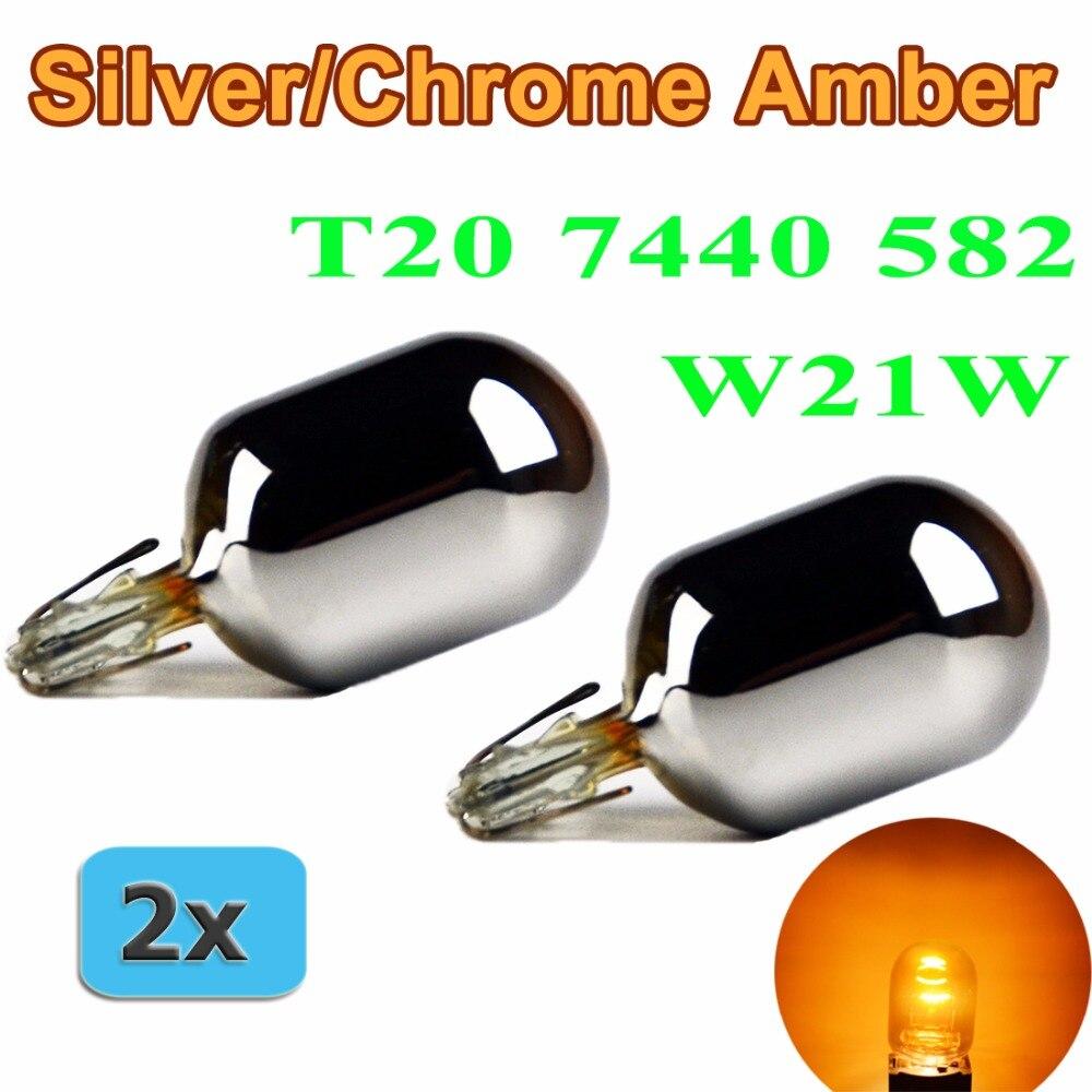 Flytop (2 teile/los) 582 7440 T20 W21W XENON Silber/Chrom Bernstein Glas 12 v 21 watt W3x16d Einzigen Filament Auto Birne