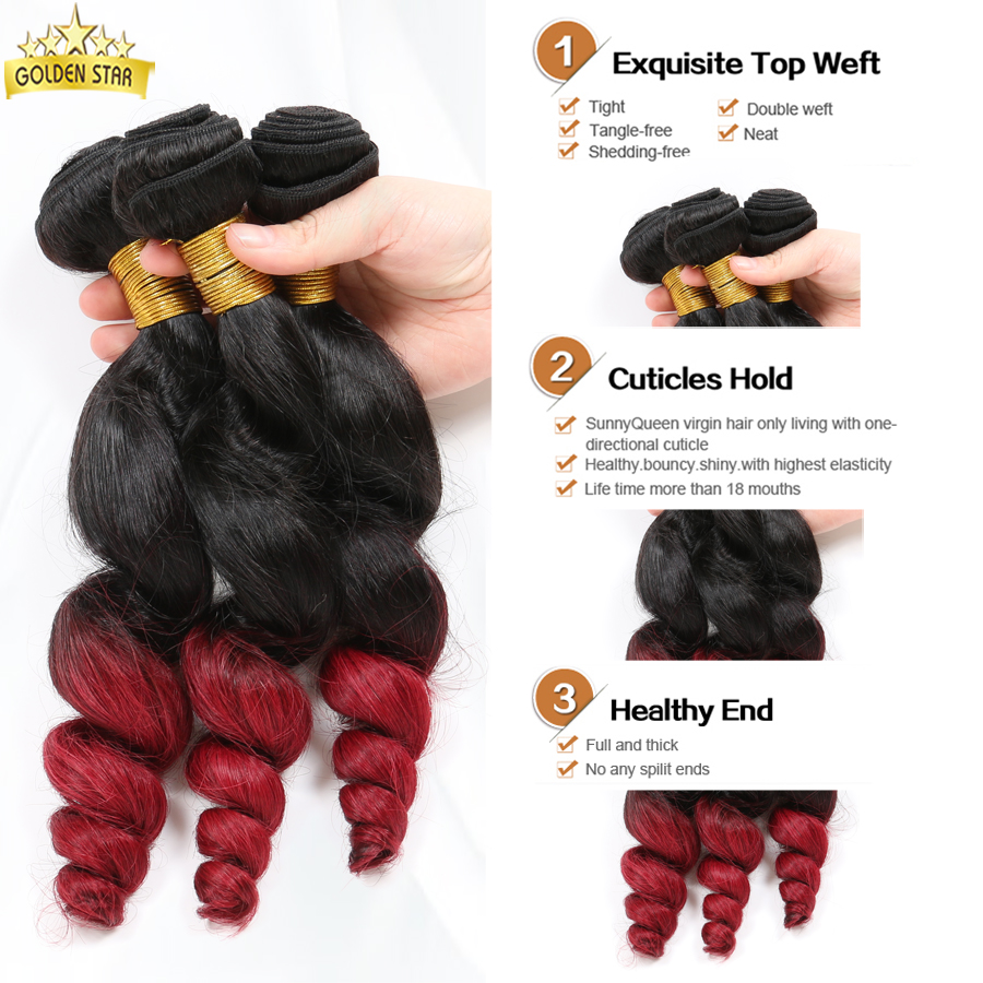 Indian Human Hair Ombre Loose Wave 4pcs Two Tone Red Wine Ombre Hair