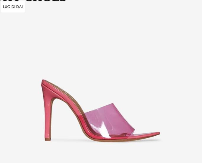 цена на 2018 new women PVC high heels party shoes summer Perspex Peep Toe sexy slide sandals high heels patent leather sandals