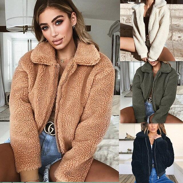 PEONFLY Coat Women Winter For Fashion Long Sleeve Teddy Jacket Female Ladies Outwear New Brown Streetwear Autumn