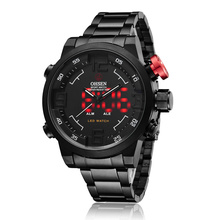 OHSEN Black Face White Hands Mens Analog Digital Stainless Steel Red LED Backlight Alarm Day Date