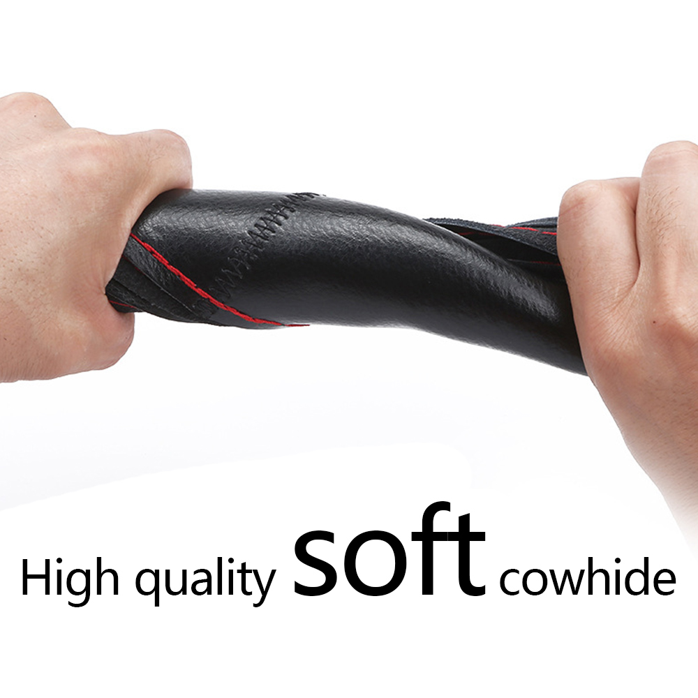 Cow Leather Steering Wheel Cover Soft Self knitting Anti slip Safety Protector 38cm 15inch Braid With Needles Thread Universal in Steering Covers from Automobiles Motorcycles
