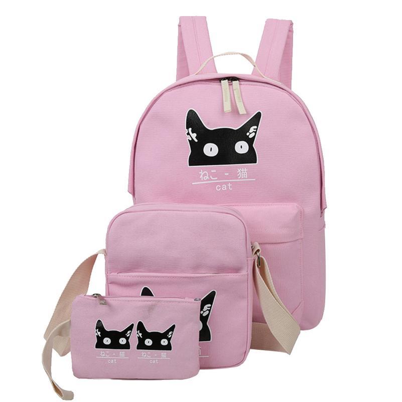 Xiniu School Bags For Teenage Girls Travel 3 Set Cat Animals Girl Boy Rucksack Women Free