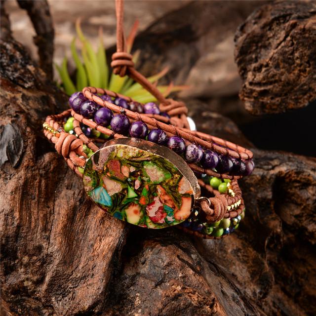 Handmade  3X Leather Wrap Regalite Beaded Bracelet
