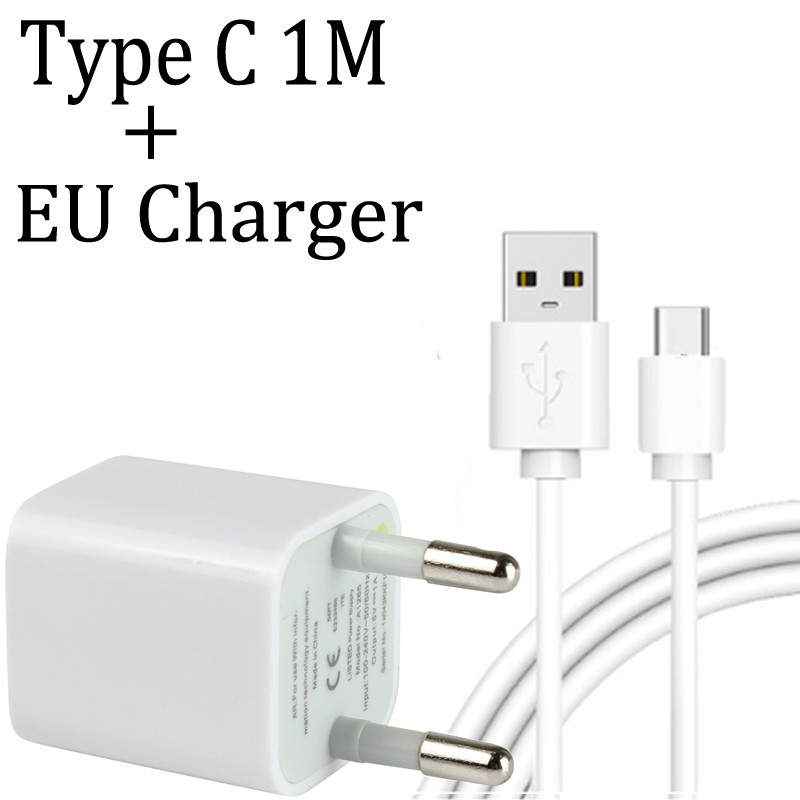 EU Plug Port Charger Adapter For Xiaomi Mi A1 Note 3 5S 6 7 Max2 3 Mix 2 2s A2 6X Phone Charger With Micro USB Cable Type C Cabo