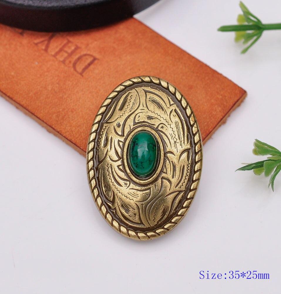 10 pçs 35x25mm de bronze antigo ocidental turquesa oval parade conchos para leathercraft carteira corrente cavalo selas tachas decoração