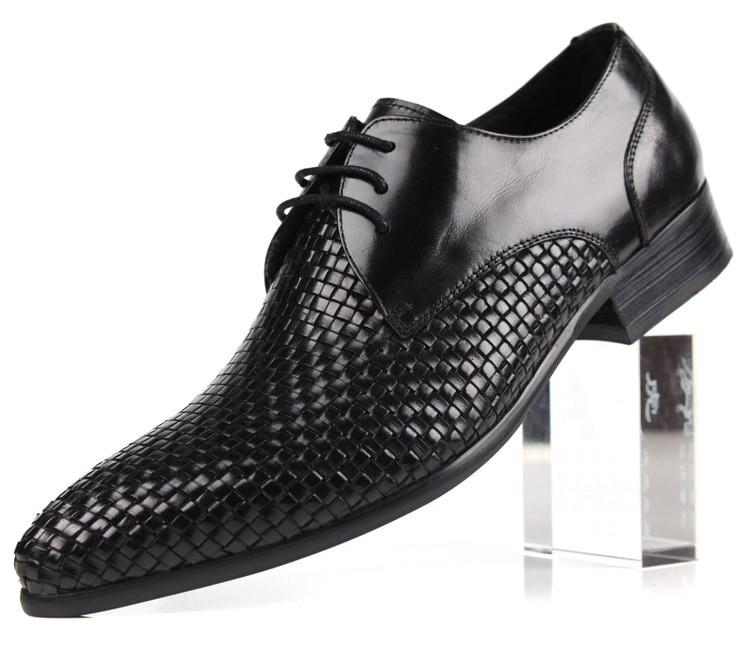Quality woven design fashion black brown font b mens b font business font b shoes b