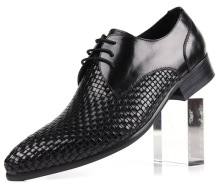 Quality woven design fashion black / brown mens business shoes genuine leather dress shoes mens offce shoes