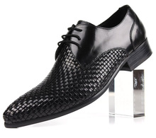 Quality woven design fashion black brown mens business shoes genuine leather dress shoes mens offce shoes