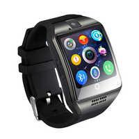 Relógios bluetooth q18 relógio inteligente suporte sim tf cartões ip67 passometer câmera para android ios telefone relógios inteligentes homens mulher