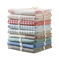 1Pc Flat Sheet 100% Washed Cotton Home Bed Sheet Plaid/Stripe Printed Solid Soft Twin/Full/Queen / King Size