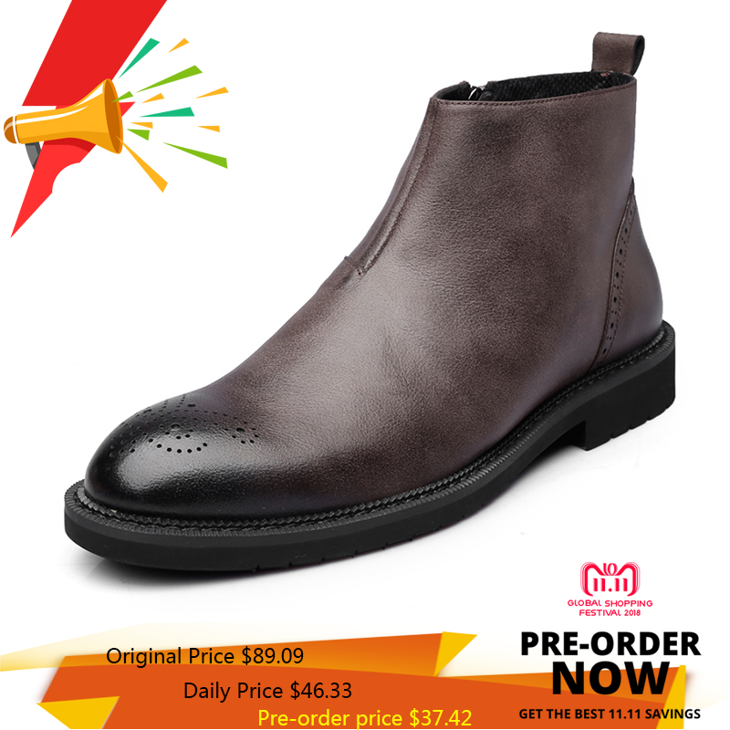 Misalwa Men's Black Brown Chelsea Leather Boots Carve Pattern Hollow-out Spring Casual Leisure Stylish Zipper Boots Shoes hawk hkaw 128 1