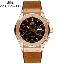 Men Automatic Self Wind Mechanical Rose Gold Silver Black Case Brown Leather Rub