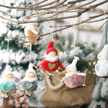 Christmas Tree Pendant Santa Door Window Hanging Skiing Plush Angel Ornament For Holiday Festive Home Decor