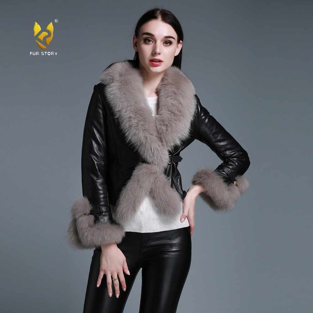 aa7879955b05c Real sheep leather coat jacket fox fur collar and trim overcoat ladies   garment 4 colors