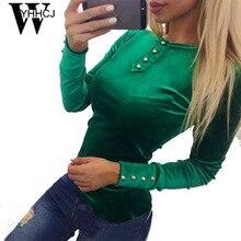 WYHHCJ 2017 nueva harajuku venta caliente O-CUELLO de las mujeres top camiseta de la manera de gamuza primavera/otoño blusas de manga larga de bodycon camisetas de mujeres