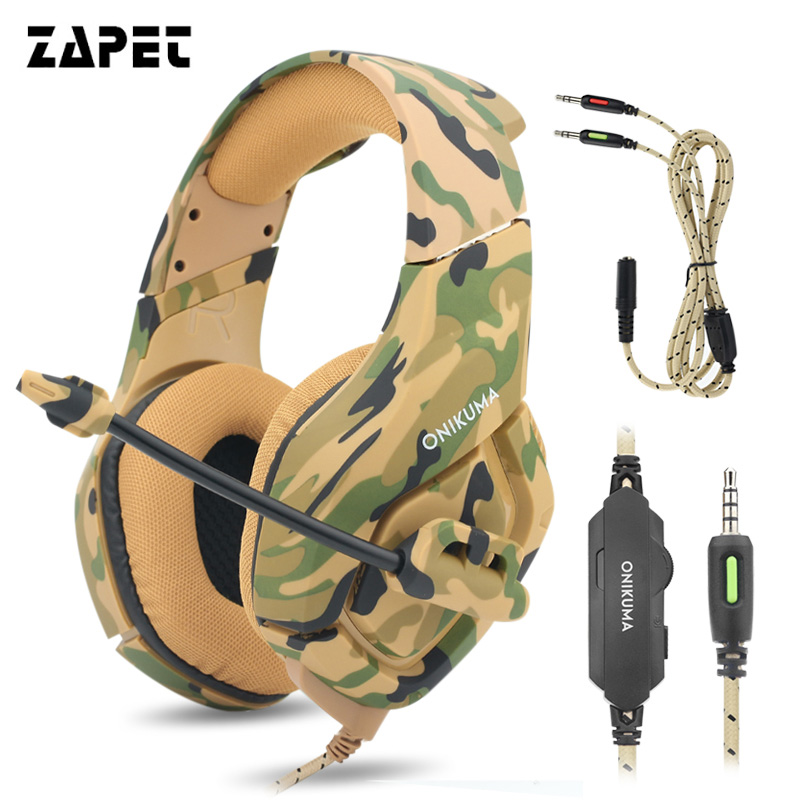ZAPET K1 PS4 super Bass Gaming Headset Camouflage Headphones Game player Earphones with Mic for PC mobile phone Xbox one laptop each g8200 gaming headphone 7 1 surround usb vibration game headset headband earphone with mic led light for fone pc gamer ps4