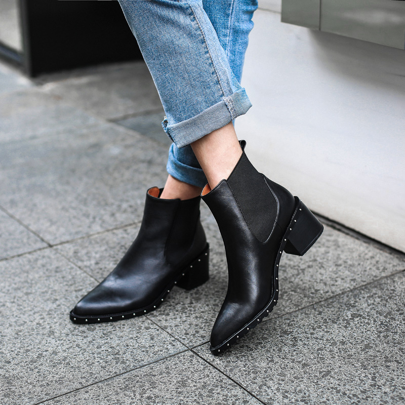 2020 Latest Rivet Chelsea Boot Women Ankle Boots Winter Booties Genuine Leather Women's High Square Heel Shoes Female Footwear